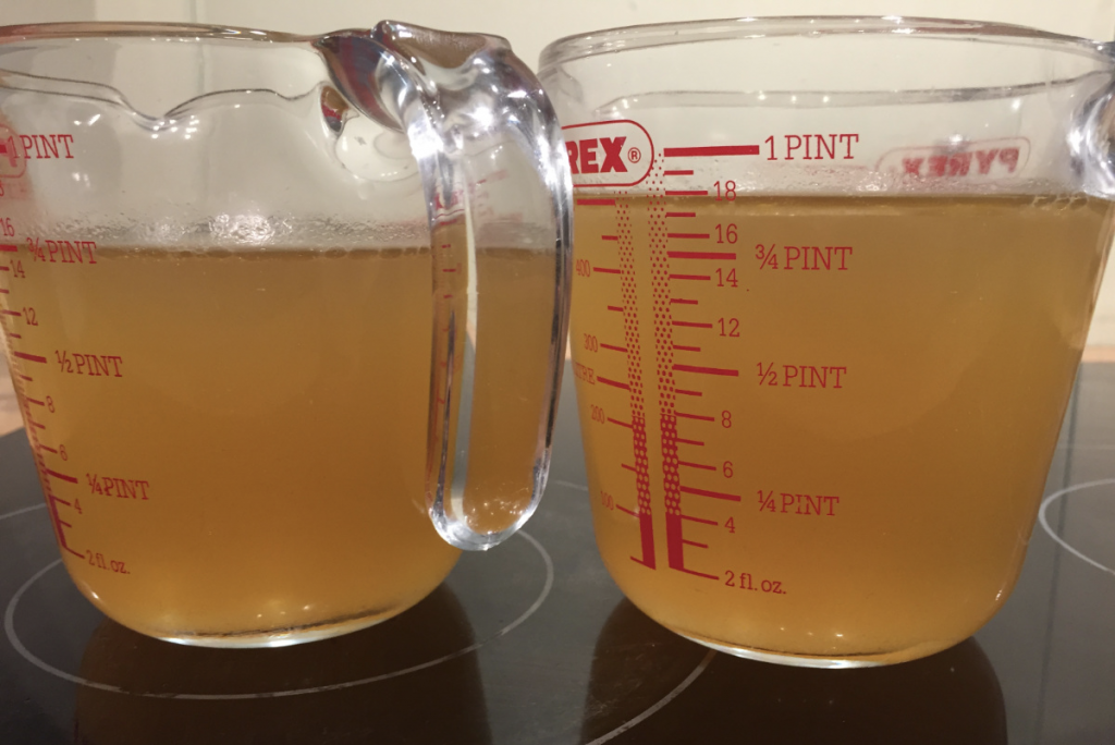 Filtered stock in jugs