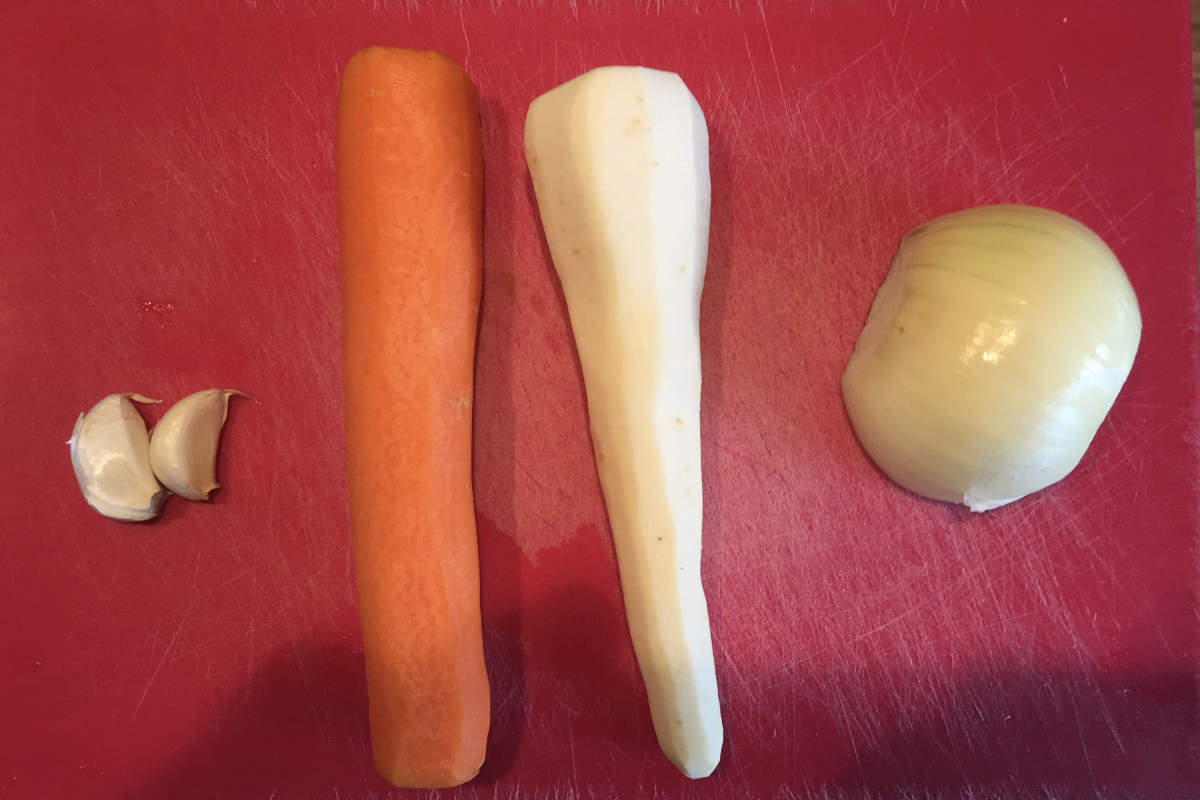 Garlic, carrot, parsnip and onion for stock making