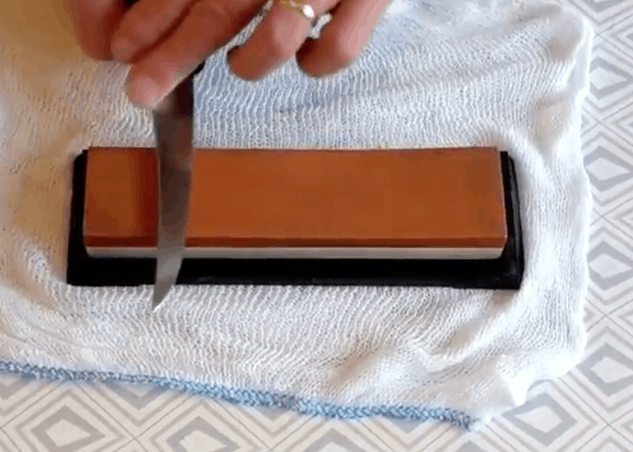 sharpening knives on a waterstone